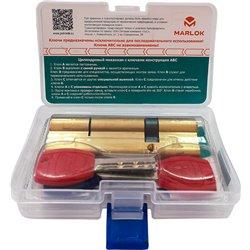 Цилиндровый механизм Marlok с монтажными ключами латунь 018945