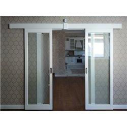 Комплект для двустворчатой синхронной двери Morelli, обычный стопор, настенное крепление на уголки и декоративным профилем