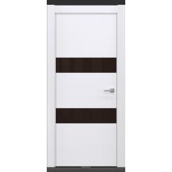 RADA Межкомнатные двери X-Line исполнение 4 ДО1 Blanc - (Белая эмаль) 3 (светло-коричневый лакобель)